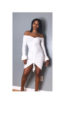 White Scrunched Off Shoulder Dress