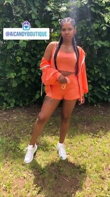 3 Piece Orange Short Set