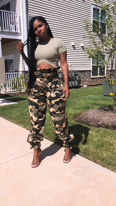 High Waisted Army Fatigue Cargo Baggy Pants