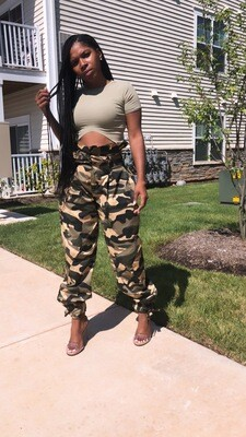 High Waisted Army Fatigue Cargo Baggy Pants