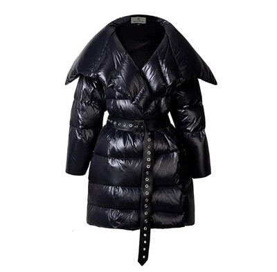 Belted Wide Flat Collar Puffer