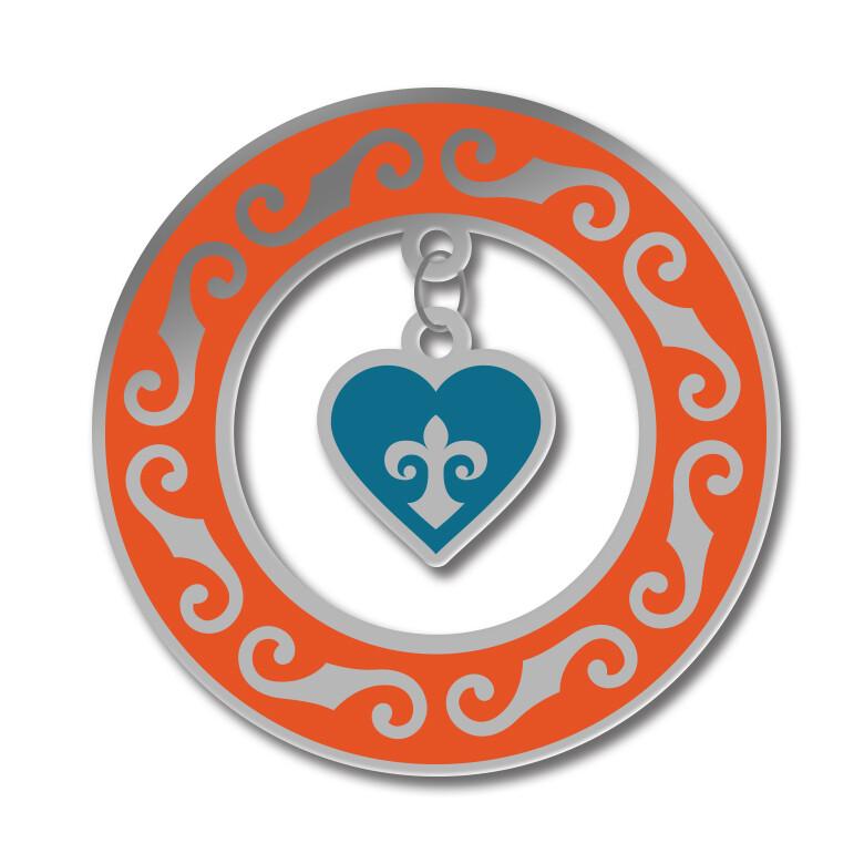 Значок с Казахским орнаментом «Кольцо с сердцем» серебряный