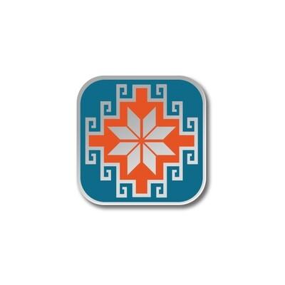 Значок с Казахским орнаментом «Жулдыз» серебряный