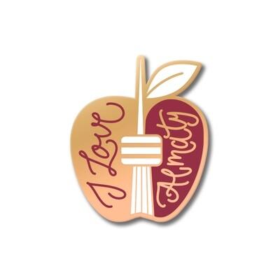 Значок в форме яблока «I Love Almaty» розовое золото