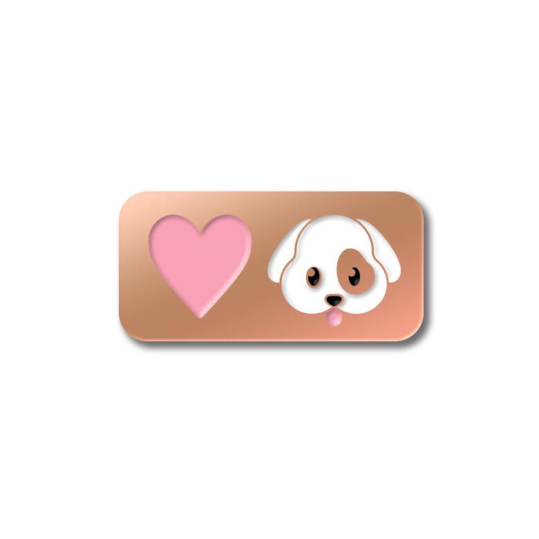 Значок «Love Dog» в розовом золоте