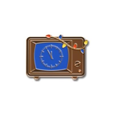 Значок новогодний «Пять минут до» в розовом золоте