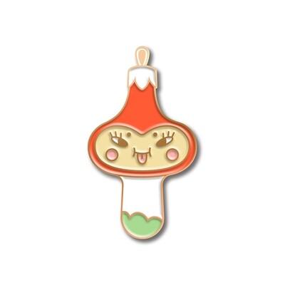 Значок ёлочная игрушка «Грибочек» в розовом золоте