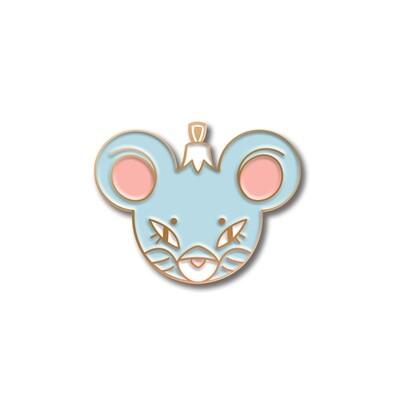 Значок ёлочная игрушка «Мышка» в розовом золоте