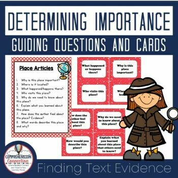 Determining Importance Question Anchor Charts and Task Cards