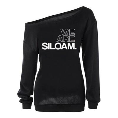 We Are Siloam Off the Shoulder Sweatshirt (Black)