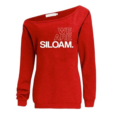 We Are Siloam Off the Shoulder Sweatshirt (Red)