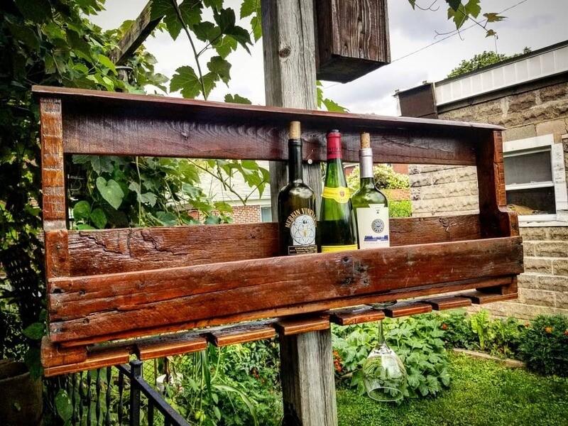 Pallet Wood Wine Bottle & Glass Rack