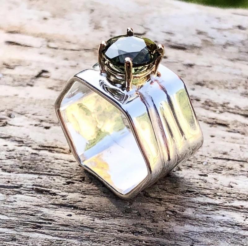Moldavite Hexagonal Ring size 8
