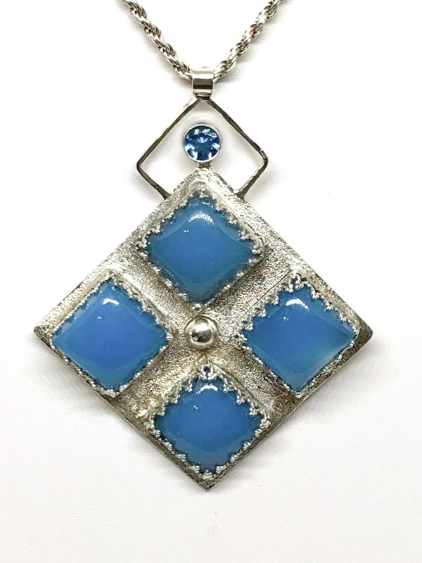 Swiss Blue Topaz and Blue Chalcedony Pendant