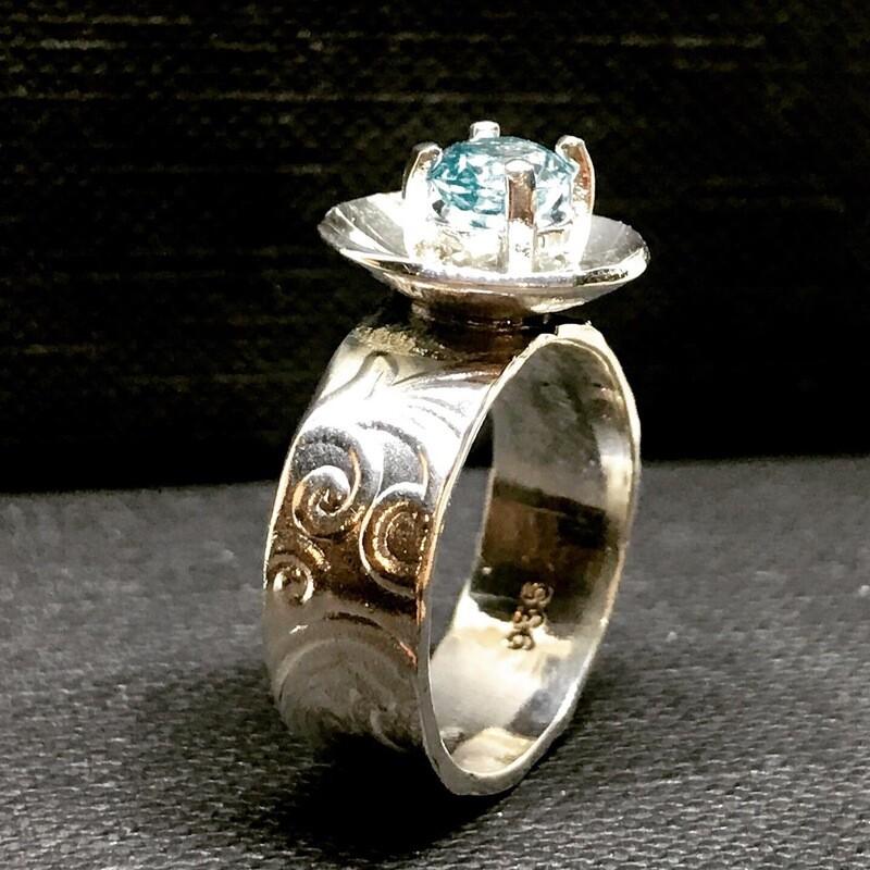 Cambodian Blue Zircon Ring
