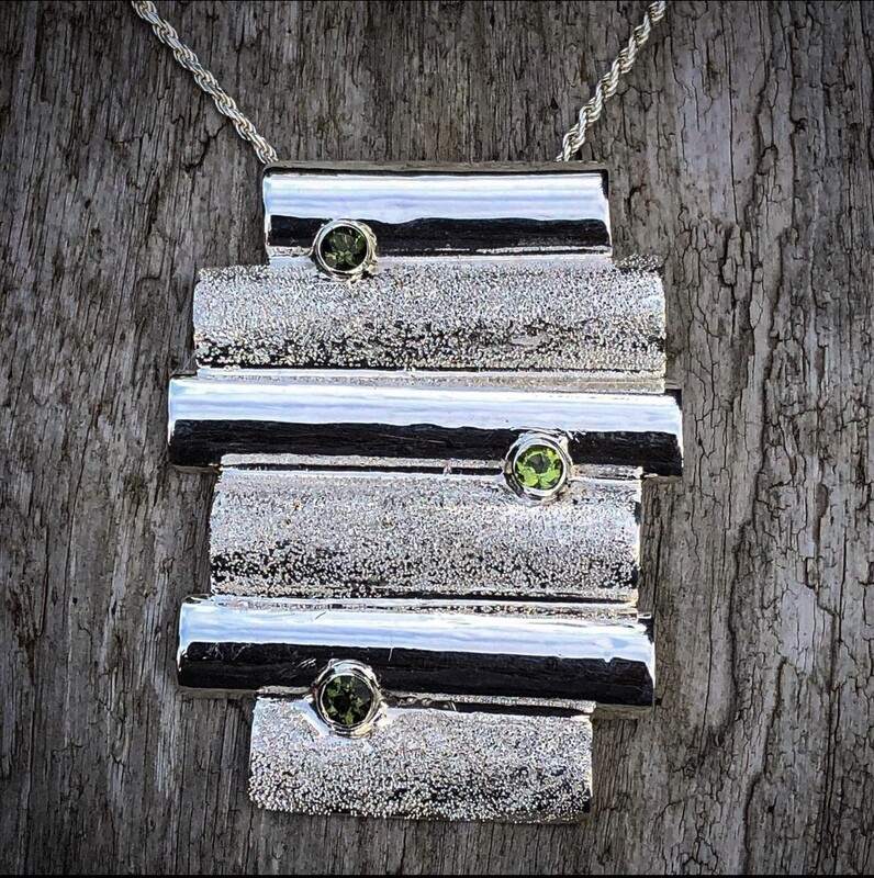 Moldavite and Peridot Pendant