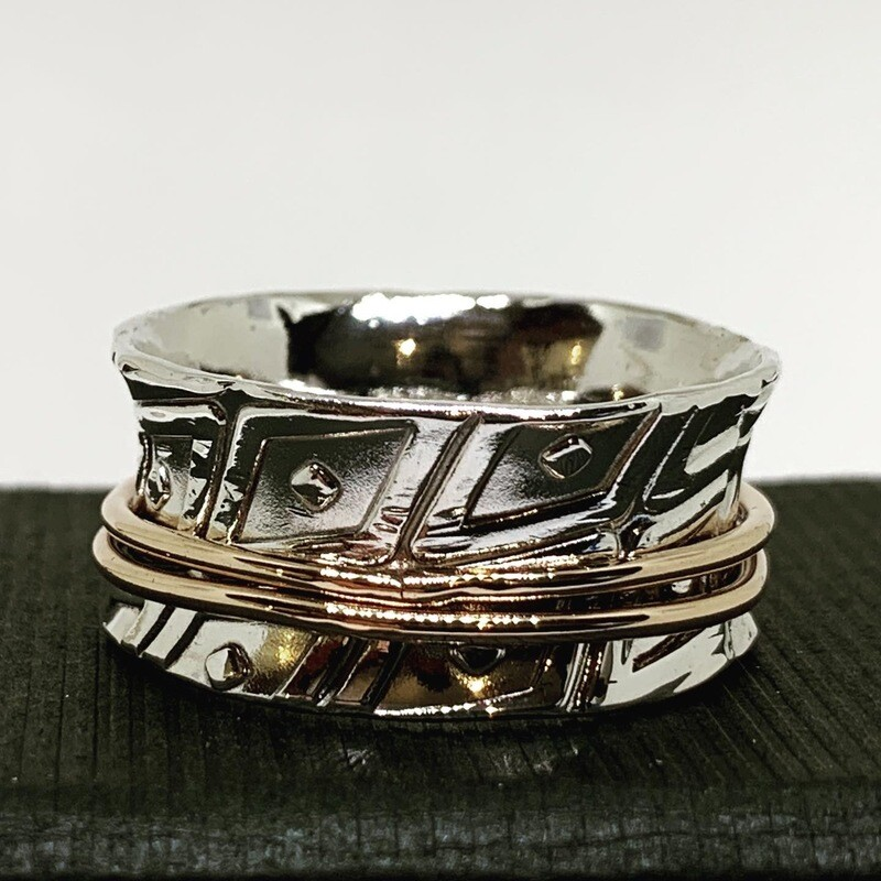 Anti Clastic Ring Argentium Sterling Silver and Bronze