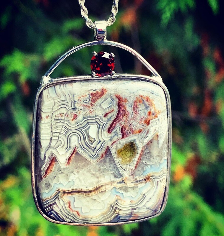 Crazy Lace Agate with Mozambique Garnet Pendant