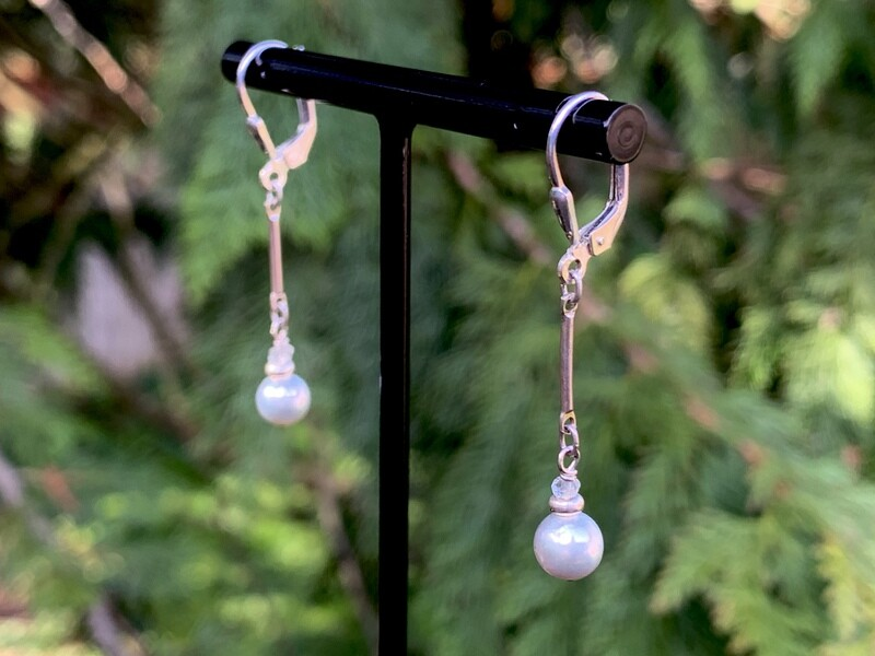 Grey saltwater pearl with white topaz earrings