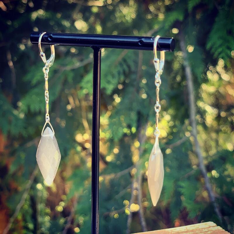 Grey Faceted Mooonstone Earrings