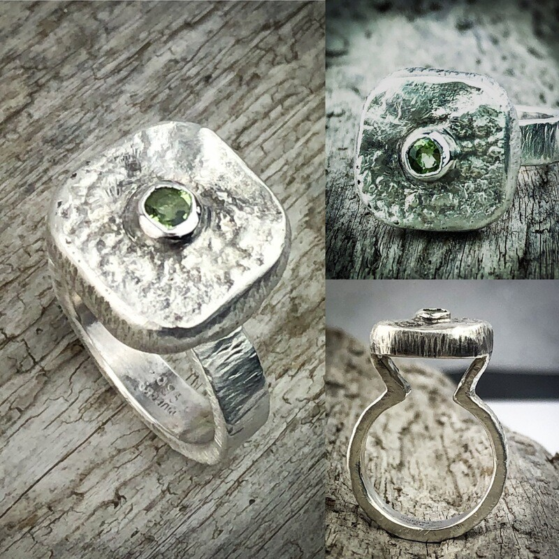 reticulated Silver Peridot Ring size 7 1/4