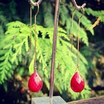 14kt Yellow Gold & Ruby Earrings