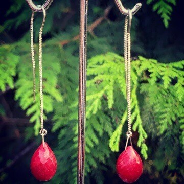 Argentium Sterling Silver & Ruby Earrings