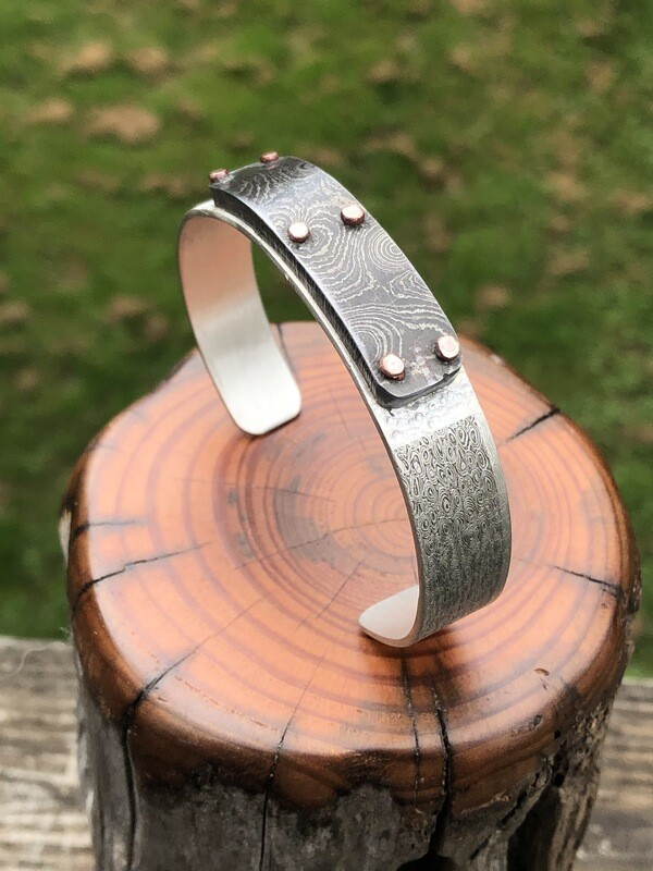 Damascus Steel And Silver Cuff