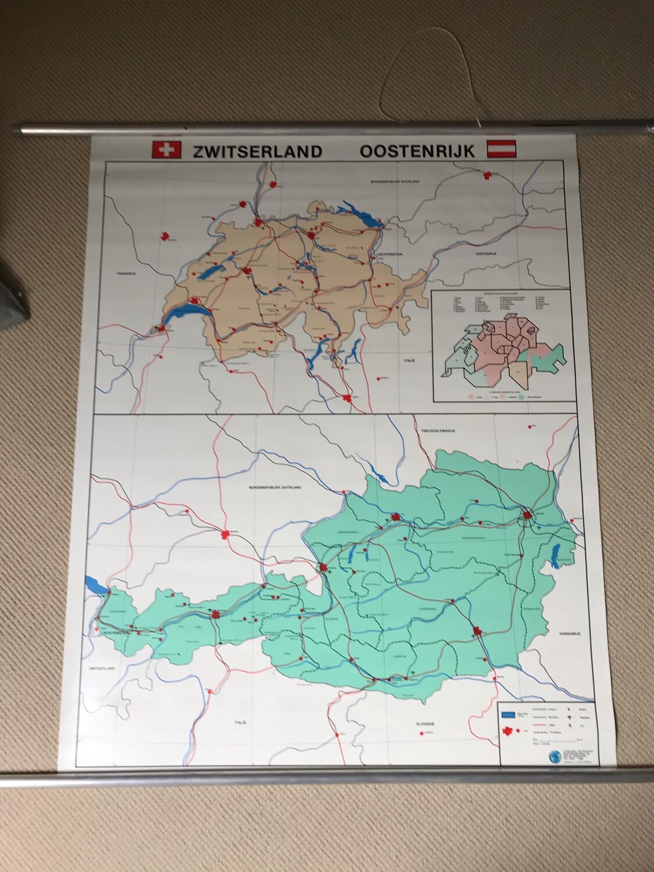 Landkaart Zwitserland Oostenrijk