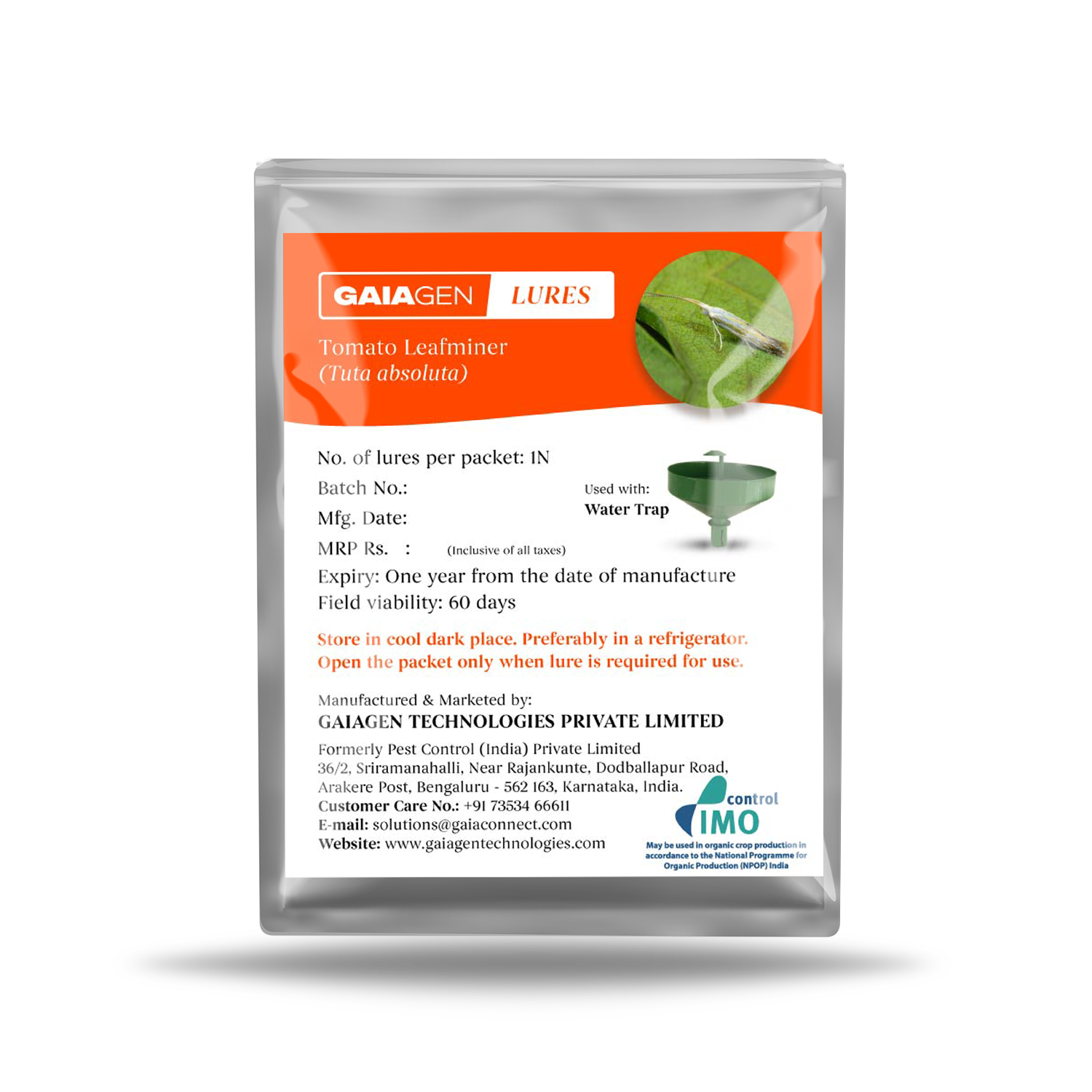 GAIAGEN Lures - Pheromone Lure for Tomato Leaf Miner (Tuta absoluta)   Pack of 10   (Does not Include Traps)
