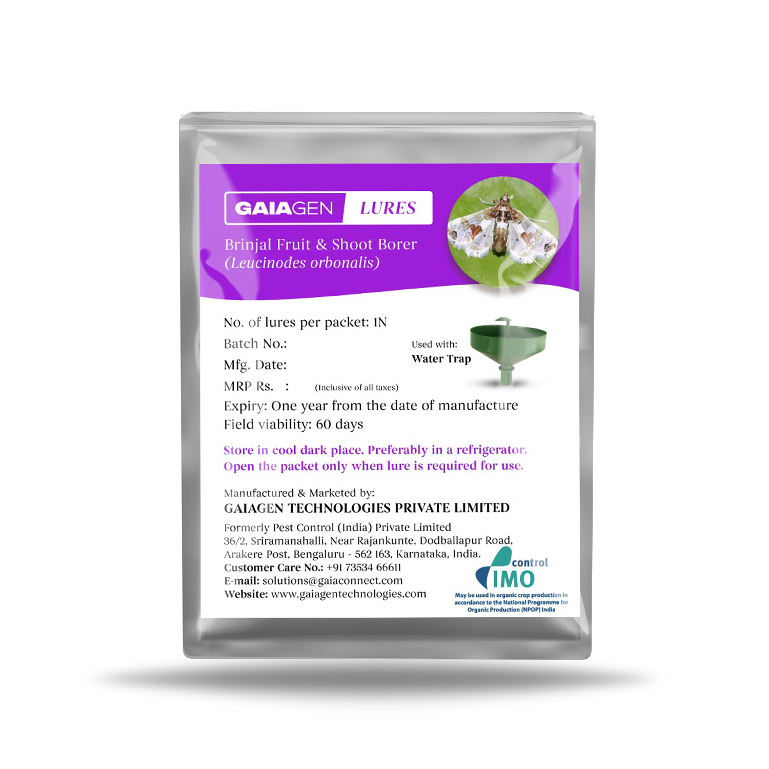 GAIAGEN Lures - Pheromone Lure for Brinjal Fruit & Shoot Borer (Leucinodes orbonalis)   Pack of 10   (Does not Include Traps)