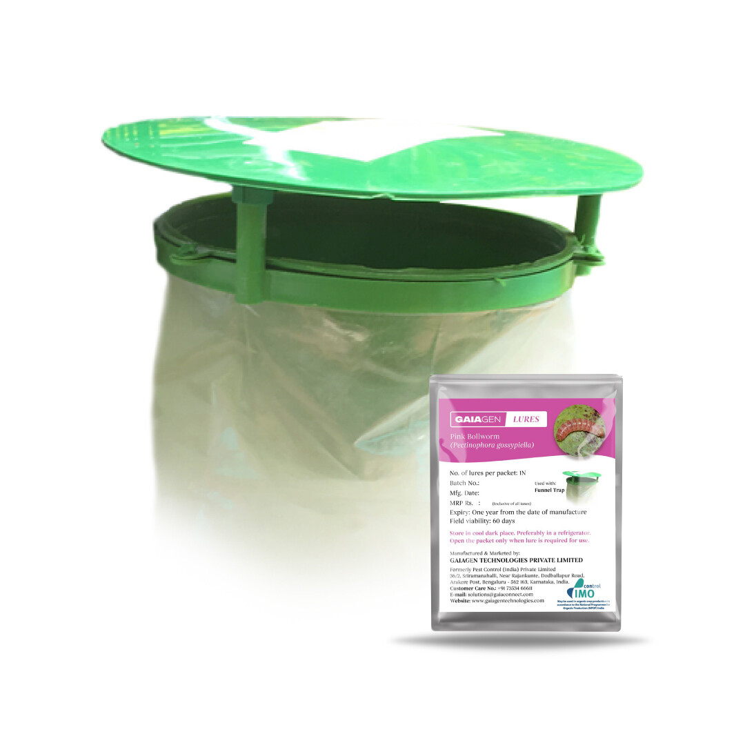 GAIAGEN Pink Bollworm Combo Pack - Pheromone Lure for Pink Bollworm (Pectinophora gossypiella) & Insect Funnel Trap | Includes - 10 Lures & 10 Traps