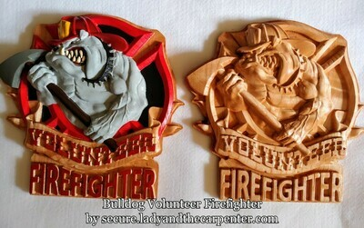 Bulldog Volunteer Firefighter 3D Wall Art
