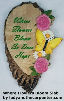 Butterfly and Flowers Wood Slab 3D Wall Art