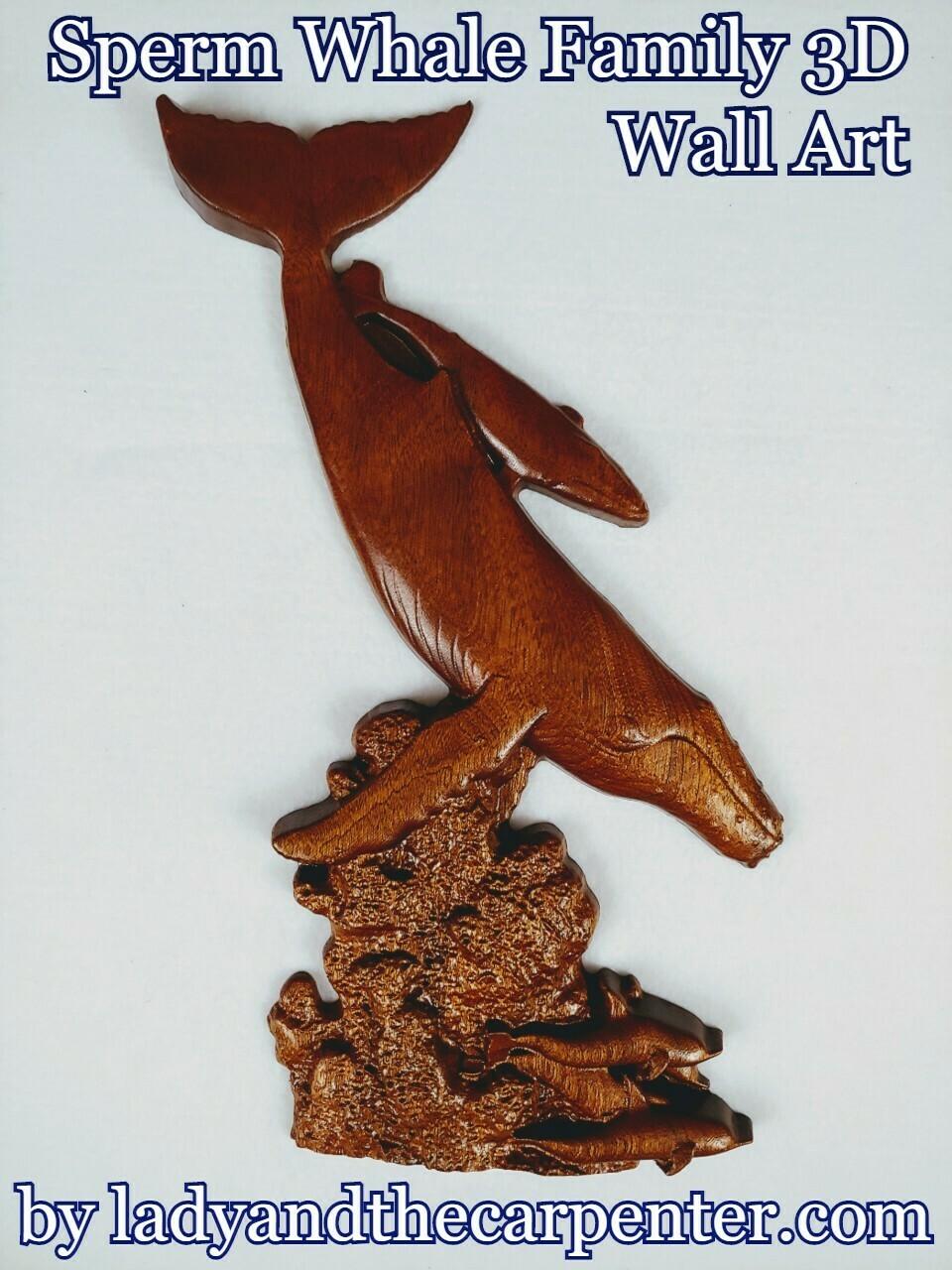 Sperm Whale Family-  3D Wall Art