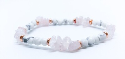 Blush - Rose Quartz Howlite . // . Healing Gemstone Stacking Bracelets . // . Gift that Gives Back - Plant a Tree . // . Unconditional Love