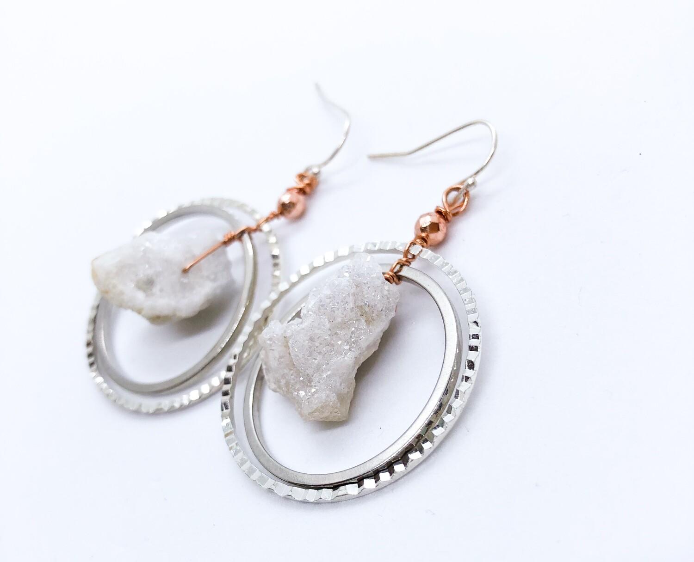 White Agate Sterling Silver Earrings .//. Crystal Healing Earrings .//. Dangle, Simple, Statement