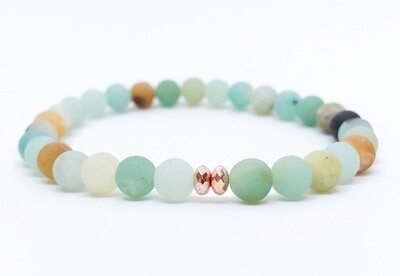 Rhythm - Amazonite Hematite . // . Healing Gemstone Stacking Bracelets . // . Gift that Gives Back - Plant a Tree . // . The Soothing Stone