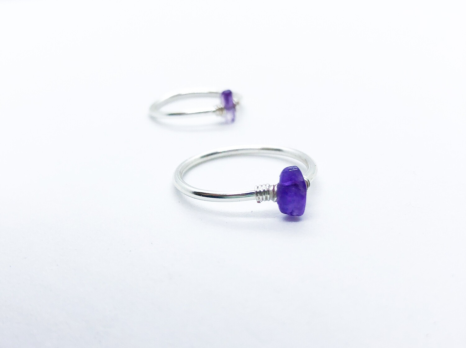 Amethyst Simple Stacking Ring . // . Gift that Gives Back - Plant a Tree . // . The Sobriety Stone . // . Layering Statement Crystal Ring