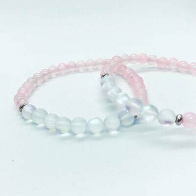 Sweet Escape - Rose Quartz, Moonstone ./ /. Healing Gemstone Stacking Bracelets ./ /.Gift that gives back - Plant a Tree ./ /.Passion & Love