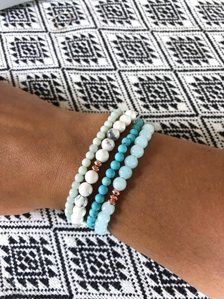 Salt Water Goddess Stack .//. Crystal Healing Gemstone Stack .//. Mermaid Dream Bracelets