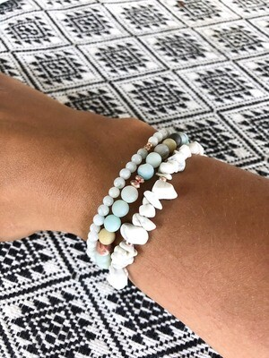 Mangata .//. Crystal Healing Gemstone Stack .//. Water Dream Bracelets