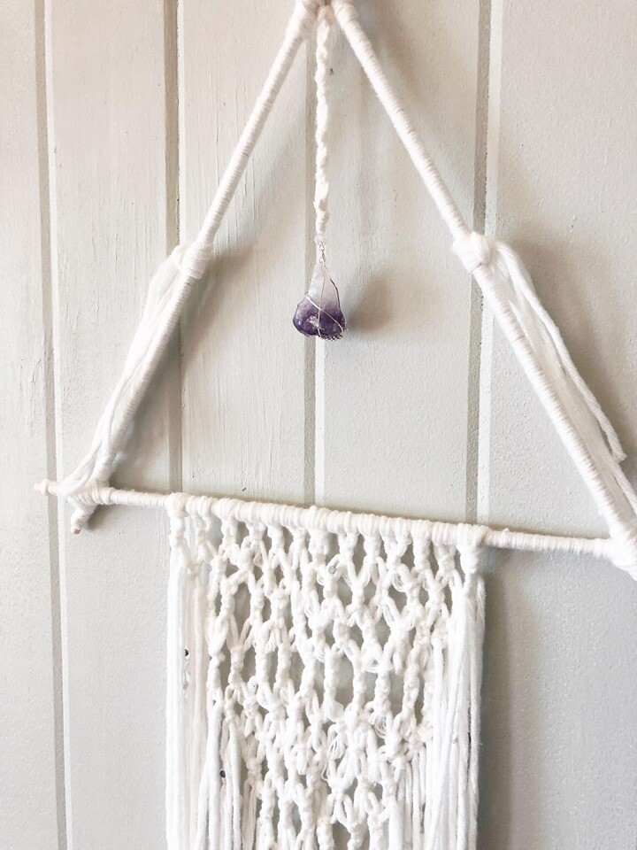 White Macrame Wall Hang .//. Gifts that Give Back - Plant a Tree .//. Crystal Healing Home Decor .//. Boho Chic