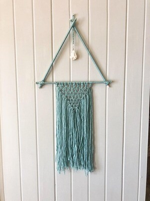 Turquoise Macrame Wall Hang .//. Gifts that Give Back - Plant a tree .//. Healing Crystal Home Decor .//. Boho Chic