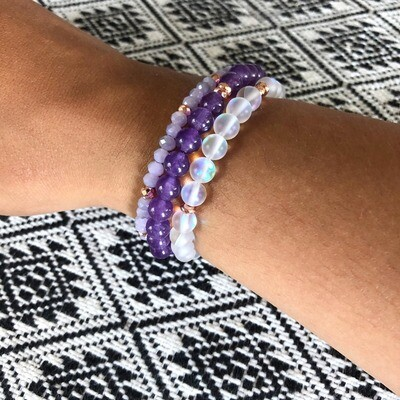 Serendipity Bracelet Stack .// Healing Crystal Gemstone Stacking Bracelets .//. Gifts that Give Back - Plant a Tree .//. Modern Hippie