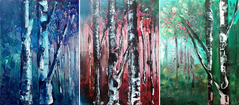 """Set 3 tablouri abstracte """"Padurea Magica"""", 90x 40cm, pictat manual de DOBOS"""