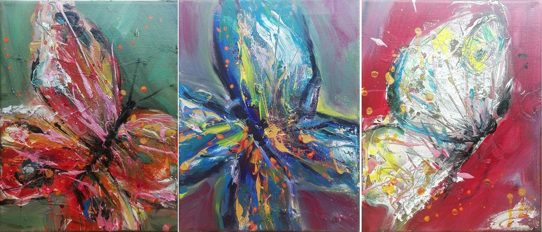 "Set 3 tablouri abstracte ""Fluturi in stomac"", 75 x 30cm, pictat manual de DOBOS"