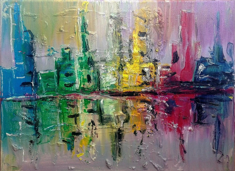 """Tablou modern """"Oras abstract"""", 30x 40cm, pictat manual de DOBOS"""