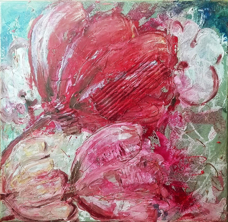 "Tablou modern contemporan ""Flori roz"", 40x 40cm, pictat manual de DOBOS"
