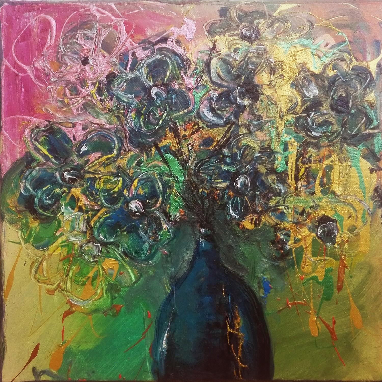 "Tablou modern contemporan ""Flori albastre"", 40x 40cm, pictat manual de DOBOS"